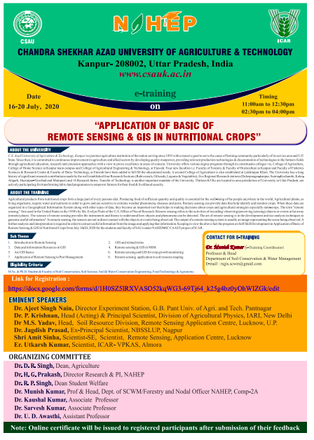 Online Training on Application of Basic of Remote Sensing & GIS In Nutritional Crops